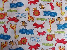 FUNKY ZOO LION CROCODILE GIRAFFE HIPPO MONKEY 100% COTTON CHILDRENS PRINT FABRIC